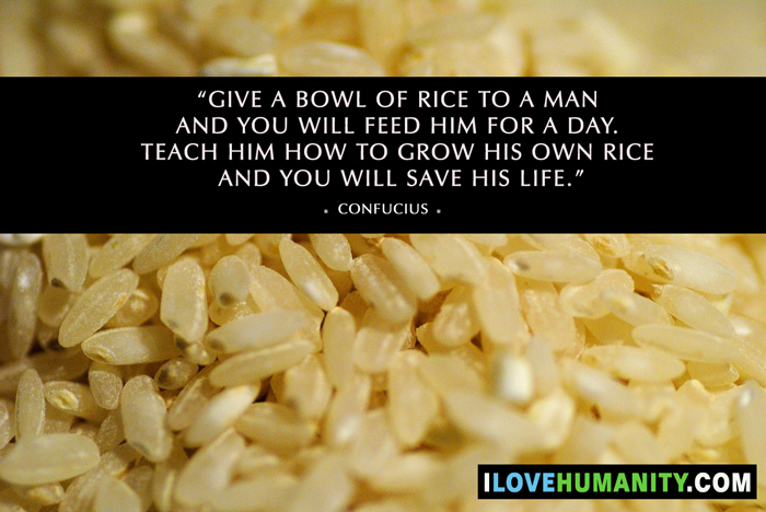 Give a bowl of rice to a man and you will feed him for a day. Teach him how to grow his own rice and you will save his life. — Confucius